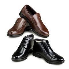 澳威盾头层牛皮羊毛鞋2+1套组  货号120904