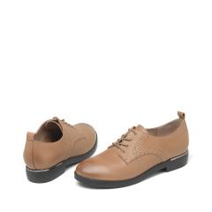达芙妮(DAPHNE)经典系带低跟深口真皮牛皮平底鞋1016404030