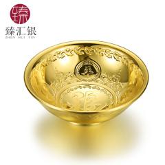 臻汇银足银S999镀金平安银碗金色高档投资收藏商务送礼